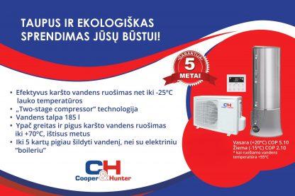 Cooper&Hunter šilumos siurblys oras-vanduo karšto vandens ruošimui CH-HP3.5SWNK/WT200SW1.5ENK